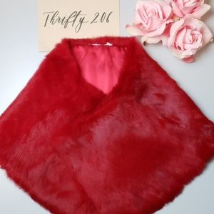 Accessories - [Vintage] Red Fur Wrap